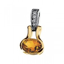 Citrine Diamond Pendant in 14k Yellow Gold