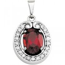 Mozambique Garnet Pendant in 14k White Gold