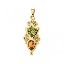 Peridot Citrine Pendant in 14k Yellow Gold