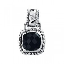 Onyx Diamond Pendant in 14k White Gold