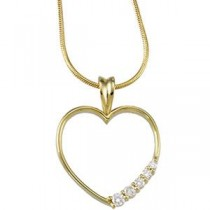 Journey Diamond Heart Pendant in 14k White Gold