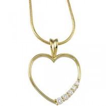 Journey Diamond Heart Pendant in 14k White Gold
