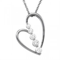Journey Diamond Heart Pendant in 14k White Gold (0.5 Ct. tw.) (0.5 Ct. tw.)