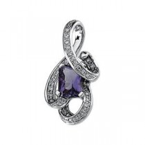 Amethyst Diamond Pendant in 14k White Gold