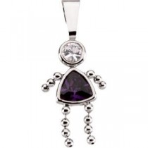 Birthstone Girl Pendant in 14k White Gold
