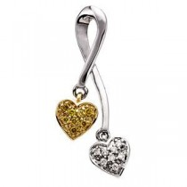 Diamond Heart Pendant Slide in 14k Two-tone Gold (0.08 Ct. tw.) (0.08 Ct. tw.)