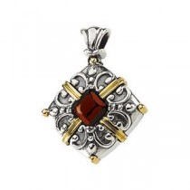 Mozambique Garnet Pendant in 14k Yellow Gold & Sterling Silver