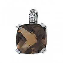 Smoky Quartz Diamond Pendant in 14k White Gold (0.02 Ct. tw.)