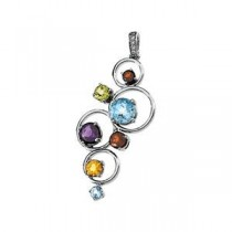 Diamond Gemstone Pendant in 14k White Gold
