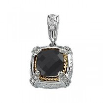 Diamond Onyx Pendant in 14k White Gold & 18k Yellow Gold