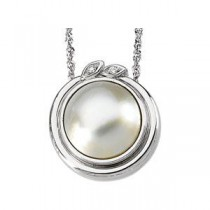 Mabe Pearl Diamond Pendant in 14k White Gold