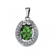 Tourmaline Diamond Pendant in 14k White Gold