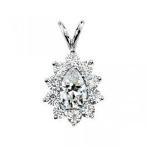 Moissanite Pendant in 14k White Gold