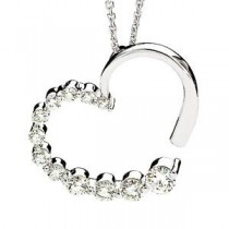 Journey Diamond Heart Pendant in 14k White Gold (0.875 Ct. tw.) (0.875 Ct. tw.)