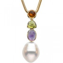 Citrine Peridot Amethyst Semi Set Pendant in 14k Yellow Gold