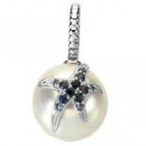Sapphire Starfish Accent For Pearl in 14k White Gold