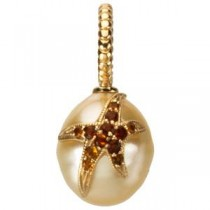 Madeira Citrine Starfish Accent For Pearl in 14k Yellow Gold
