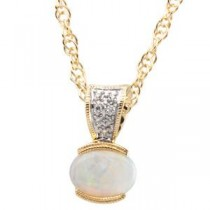 Cabochon Opal Diamond Pendant in 14k Yellow Gold (0.04 Ct. tw.)