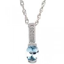 Aquamarine Diamond Pendant in 14k White Gold (0.05 Ct. tw.)