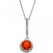 Mexican Fire Opal Diamond Pendant in 14k White Gold (0.2 Ct. tw.)