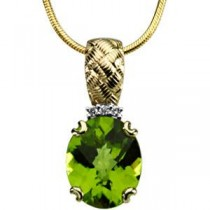 Peridot  Diamond Pendant in 14k Yellow Gold