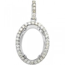 Diamond Semi Mount Pendant in Sterling Silver