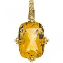 Citrine Diamond Pendant in 14k Yellow Gold