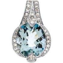 Aquamarine Diamond Pendant in 14k White Gold