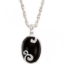 Onyx Diamond Pendant in Sterling Silver