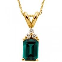 Emerald Diamond Pendant in 14k Yellow Gold