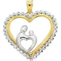 Heart Mother Child Pendant in 10k Yellow Gold