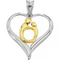 Heart Mother Child Pendant in 10k Yellow Gold & Sterling Silver