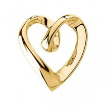 Heart Pendant Slide in 14k Yellow Gold