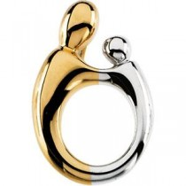Mother Child Pendant in 14k Two-tone Gold