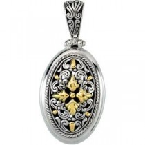 Fashion Pendant in 18k Yellow Gold & Sterling Silver
