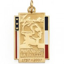 Marquise De Lafayette Pendant in 14k Yellow Gold