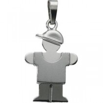 The KidsTrade Hugs Boy Pendant in 14k White Gold