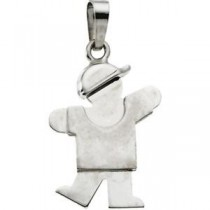 The KidsTrade Kiss Boy Pendant in 14k White Gold