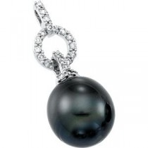 Tahitian Cultured Pearl Diamond Pendant in 14k White Gold