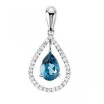Genuine London Blue Topaz Ct Tw Diamond Pendant in 14k White Gold