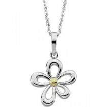 Two Tone Flower Pendant On A Sparkle Singapore Chain in 14k Two-tone Gold