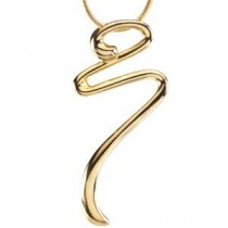 Gold Fashion Pendant On An Snake Chain in 14k Yellow Gold