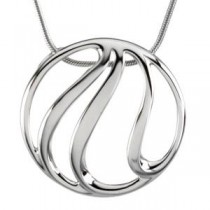 Gold Fashion Pendant On An Snake Chain in 14k White Gold