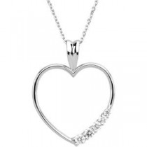 Ct Tw Journey Diamond Heart Necklace in 14k Yellow Gold (0.2 Ct. tw.) (0.2 Ct. tw.)