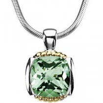 Genuine Green Quartz Necklace in 14k Yellow Gold & Sterling Silver
