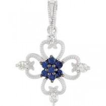 Genuine Blue Sapphire Diamond Pendant in Sterling Silver