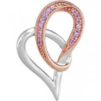 Genuine Pink Sapphire Heart Pendant in Sterling Silver