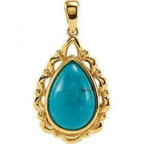 Genuine Chinese Turquoise Pendant in 14k Yellow Gold