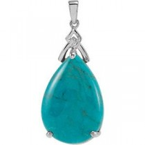 Genuine Chinese Turquoise Pendant in Sterling Silver