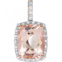 Genuine Morganite Diamond Pendant in 14k Rose Gold